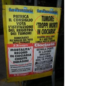 tumori in Ciociaria - locandine giornali