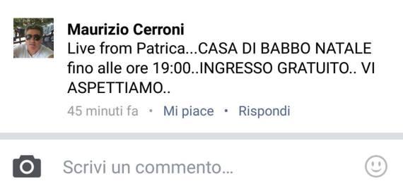 Cerroni invito ad andare a Patrica